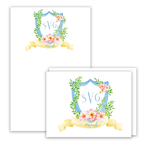 Pink Rose Themed Watercolor Crest Stationery Gift Set