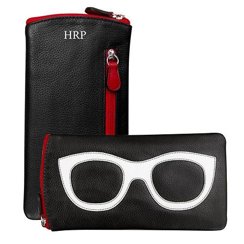 Leather Eyeglass Case-Black/White/red