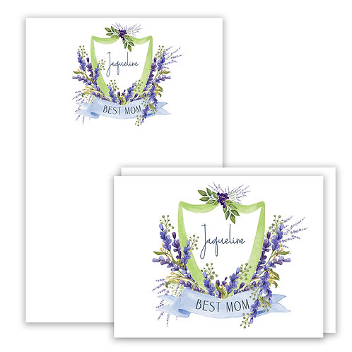 Lavender Themed Watercolor Crest Stationery Gift Set