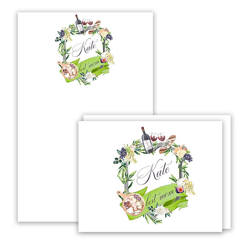 Wine Themed Watercolor Crest Stationery Gift Set