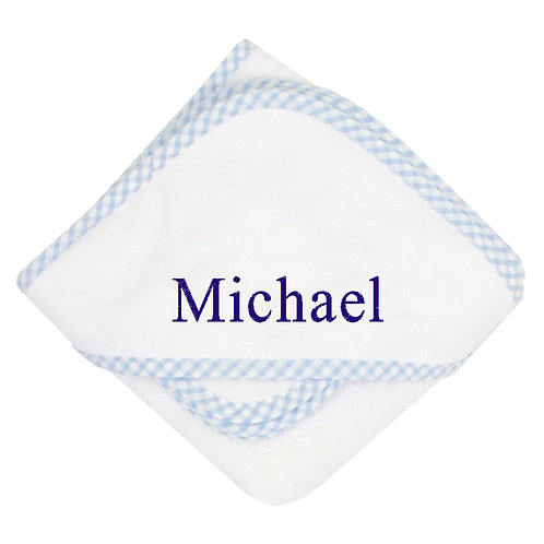 Personalized Blue Hooded Towel and Washcloth