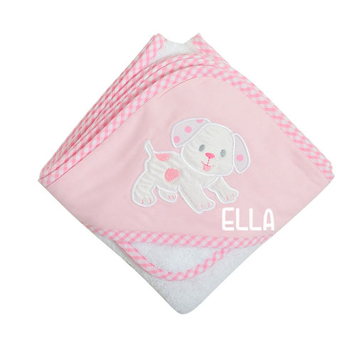 Personalized White Puppy Hooded Towel and Washcloth