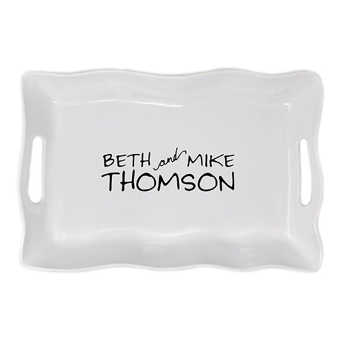 Personalized Ruffle Rectangle Tray