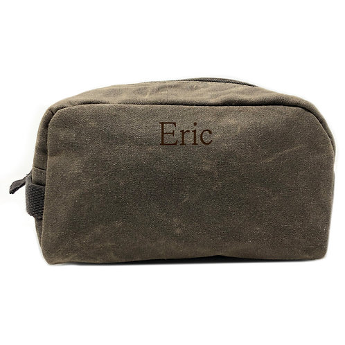 Waxed Canvas Toiletry Bag-Olive