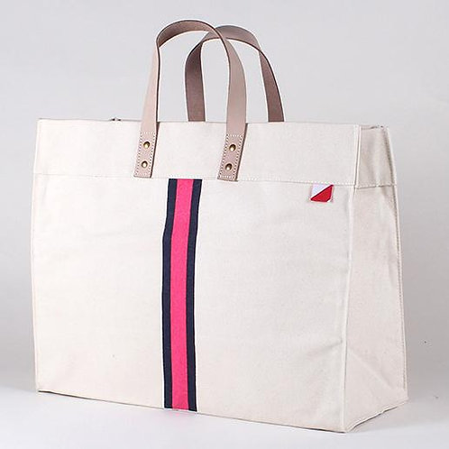 Pink & Navy Striped Tote Bag
