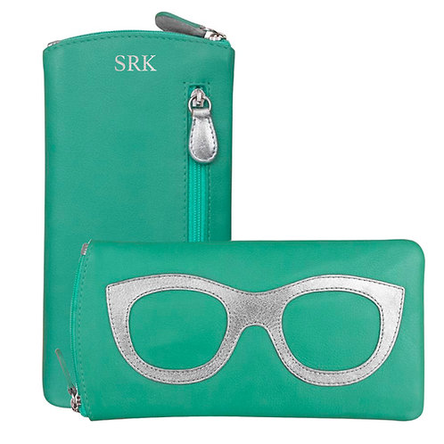 Leather Eyeglass Case-Turquoise/Silver