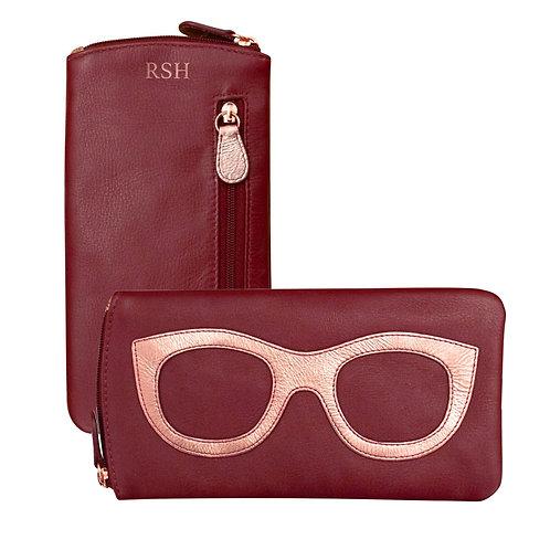 Merlot Leather Eyeglass Case
