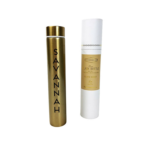 Personalized Slim Flask Bottle-Gold