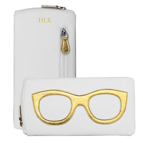 Leather Eyeglass Case- White/Gold