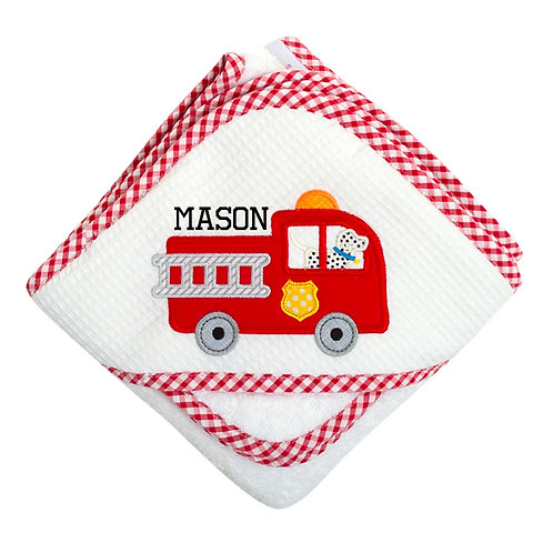 Personalized Fire Truck Hooded Towel and Washcloth