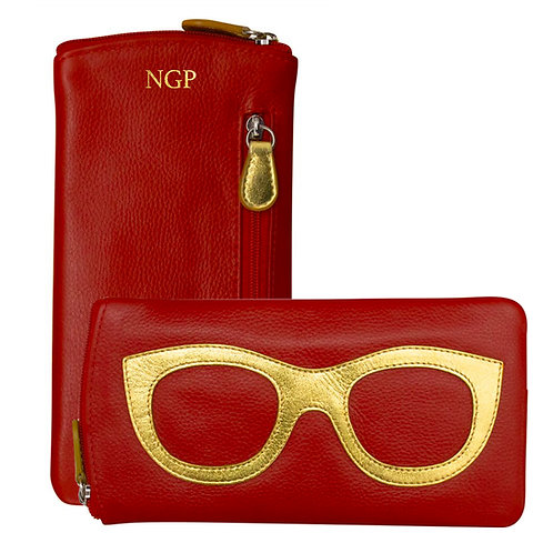 Leather Eyeglass Case- Red/Gold