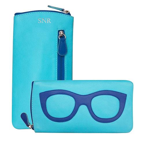 Leather Eyeglass Case-Blue/Blue