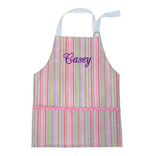 Personalized Toddler Smock- Pink Stripe