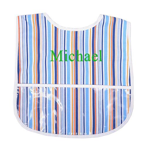 Personalized Laminated Bib-Blue Stripe