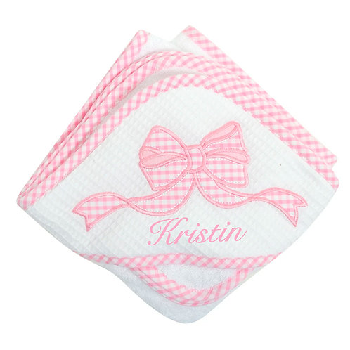 3 Martha's Personalized Pink Bow Hooded Towel and Washcloth