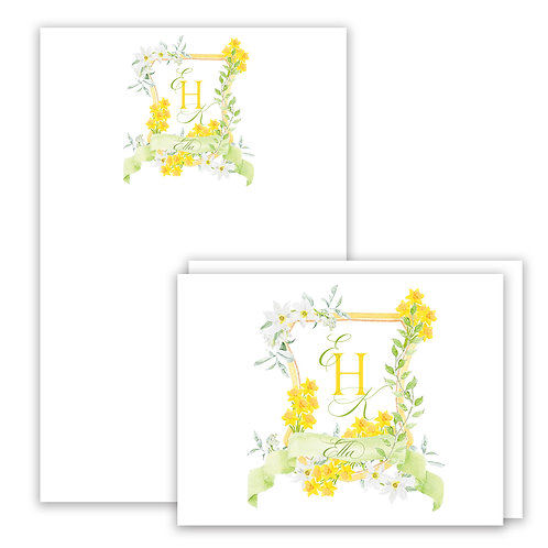 Daffodil Themed Watercolor Crest Stationery Gift Set