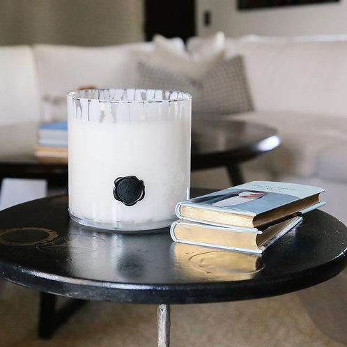Opal Glass Three Wick Gardenia Candle