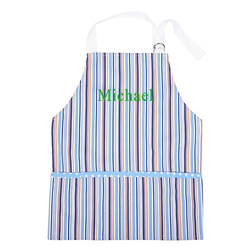 Personalized Toddler Smock- Blue Stripe