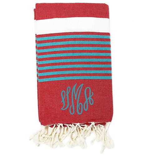 Turkish Honeycomb Towel - Red & Aqua