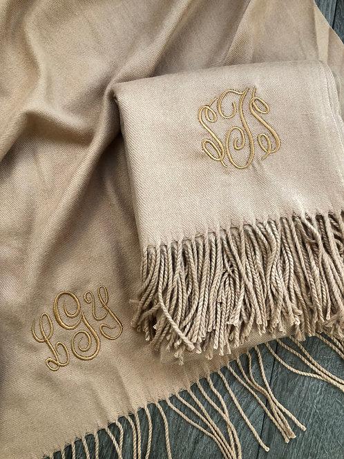 Cashmere Scarfs with tone on tone monogram
