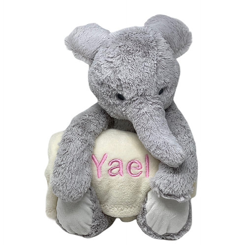 Elephant plush toy with personalized  blanket
