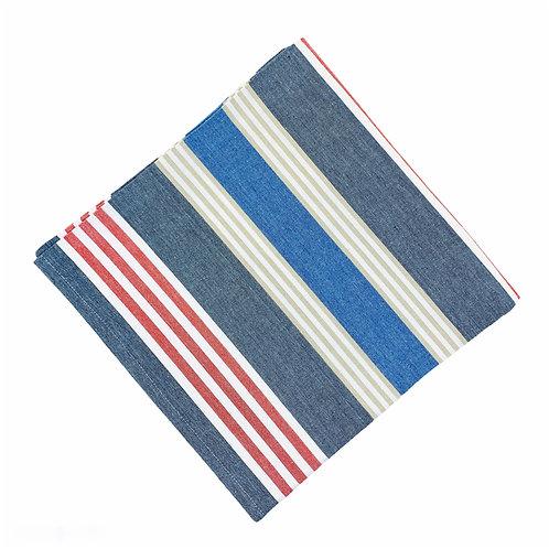 """60"""" Square Striped Cotton Tablecloth"""