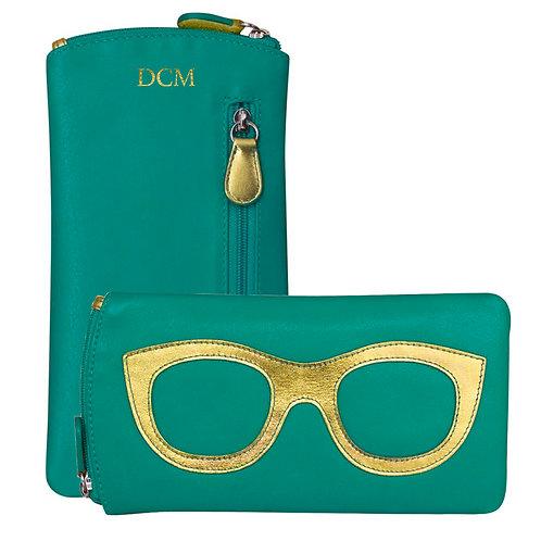 Leather Eyeglass Case-Aqua/Blue