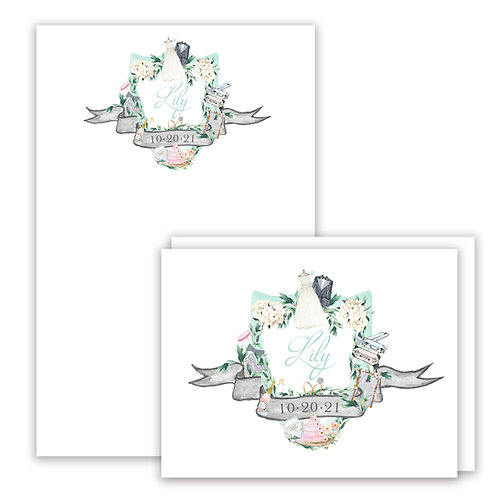 Bridal Themed Watercolor Crest Stationery Gift Set