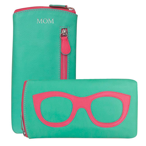 Leather Eyeglass Case- Turquoise/Pink