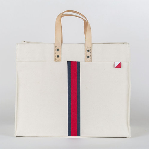 Red & Navy Striped Tote Bag