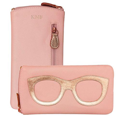 Blush Leather Eyeglass Case