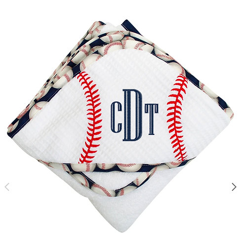 Personalized Baseball Hooded Towel and Washcloth