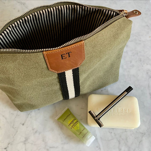 Striped Canvas Toiletry Bag-Green
