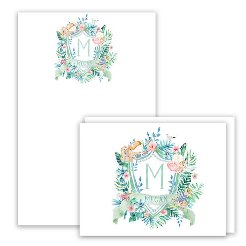 Beach Themed Watercolor Crest Stationery Gift Set