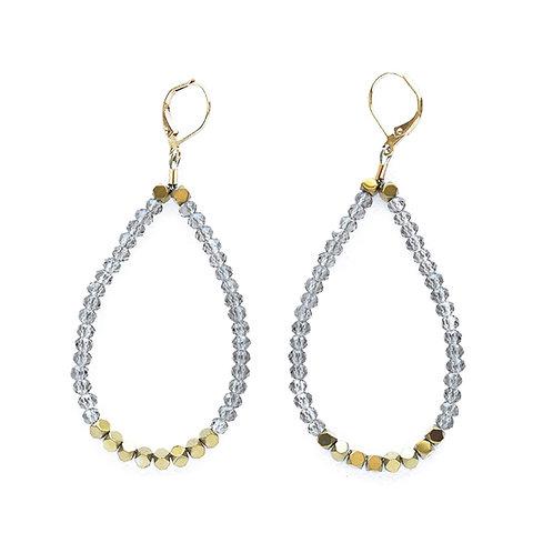 Smoky Crystal and Hematite Loop Earrings