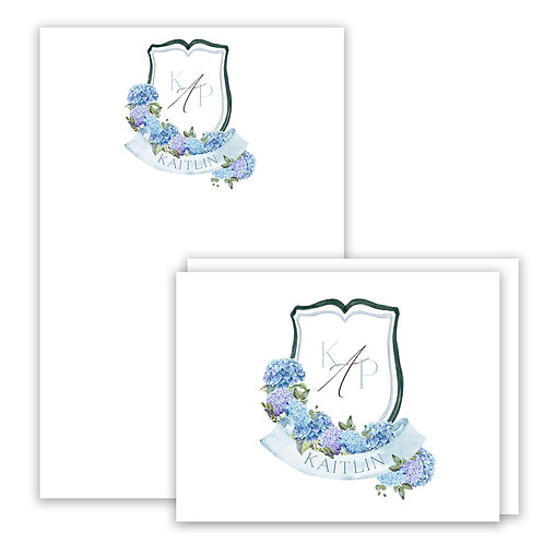 Hydrangea Themed Watercolor Crest Stationery Gift Set