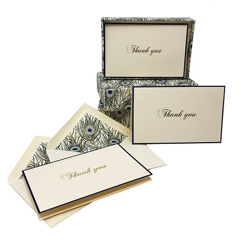 Thank you Boxed Note Cards- Peacock