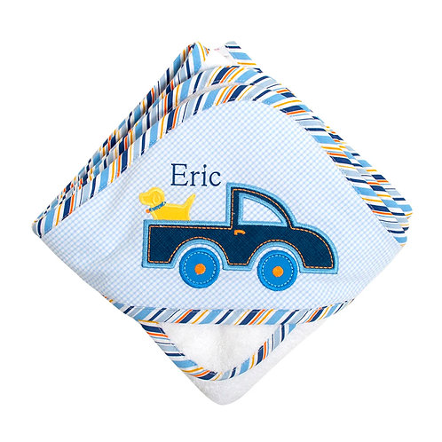 Personalized Blue Truck Hooded Towel and Washcloth