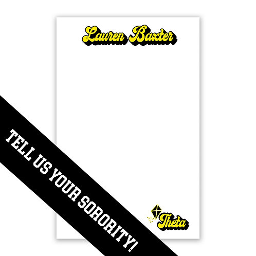 Personalized College Sorority Notepad