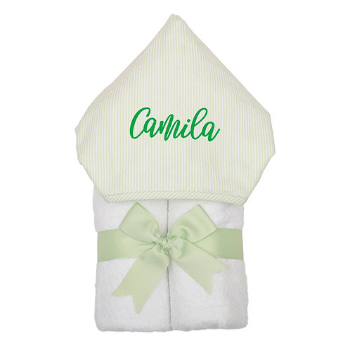 Big Kid Hooded Towel- Green Stripe