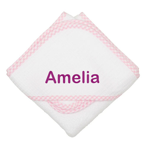 Personalized Pink Hooded Towel and Washcloth