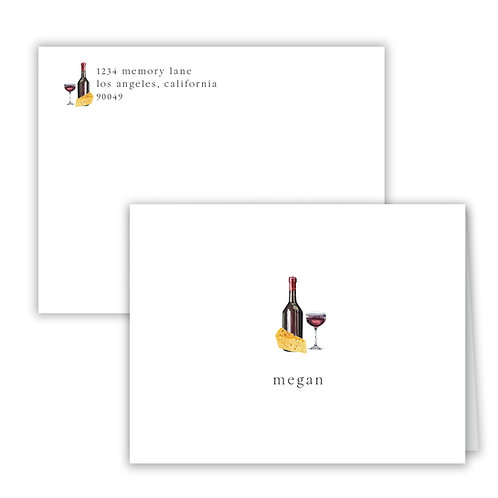 Personalized Notecards - Wine & Cheese