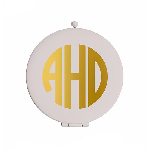 Personalized White Compact Mirror