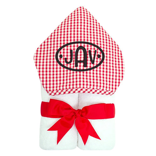 Personalized Big Kid Hooded Towel- Red Check