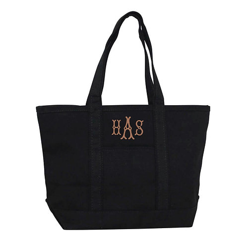 Personalized All Black Medium Boat Tote Bag