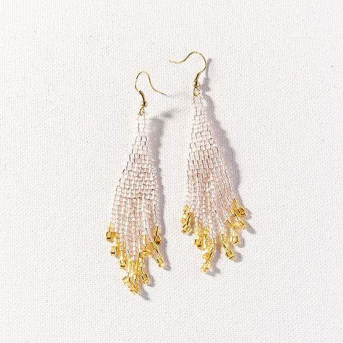 Blush and Gold Small Fringe Earrings