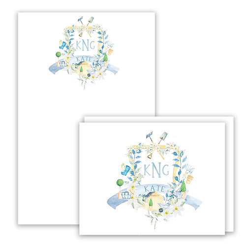 Garden Themed Watercolor Crest Stationery Gift Set