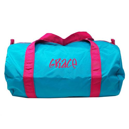 Personalized Oh Mint Medium Duffle Bag-Aqua Pink