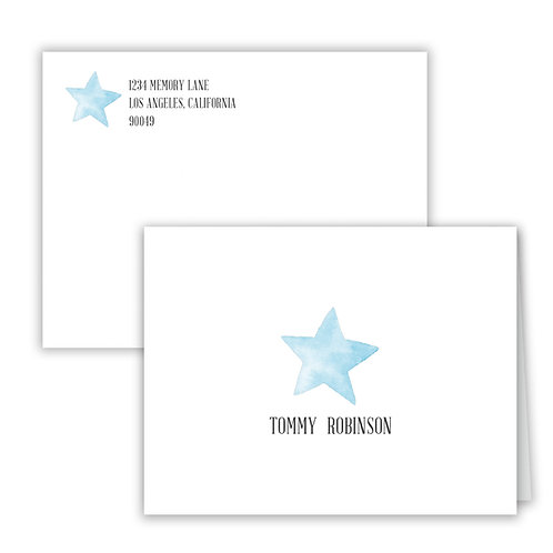 Personalized Notecards - Blue Star