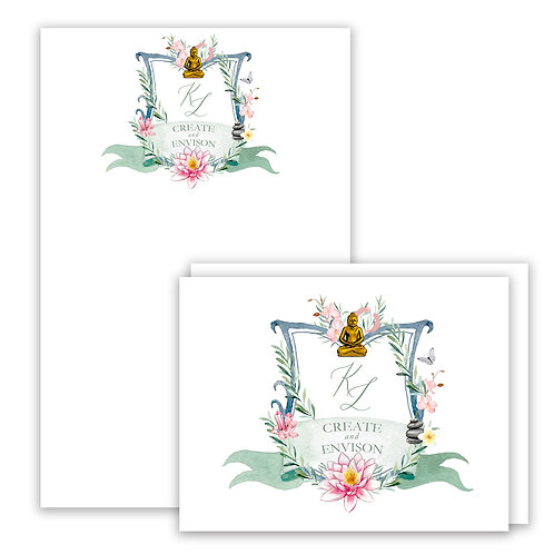 Buddha  Themed Watercolor Crest Stationery Gift Set